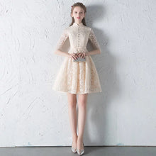 Load image into Gallery viewer, The Penelope Mandarin Collar Champagne Short Dress - WeddingConfetti