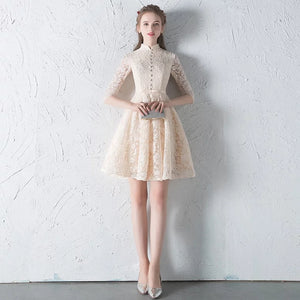 The Penelope Mandarin Collar Champagne Short Dress - WeddingConfetti