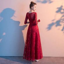 Load image into Gallery viewer, The Herientta Red Long Sleeves Lace Gown - WeddingConfetti