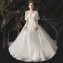 Load image into Gallery viewer, The Viva Wedding Bridal Short Illusion Sleeves Gown - WeddingConfetti