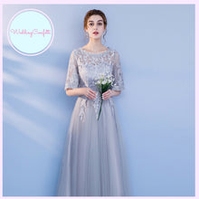Load image into Gallery viewer, The Penelope Bridesmaids Grey Off Shoulder / Long Sleeves / Tube Dress