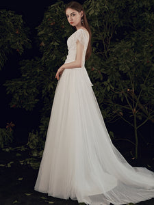 The Paisleigh Wedding Bridal Cap Sleeves Gown