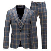 Load image into Gallery viewer, Vauseton Groom Men's Checkered Suit Jacket, Vest and Pants (3 Piece) - WeddingConfetti