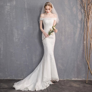 The Renalyda Wedding Bridal Lace Off Shoulder Gown - WeddingConfetti