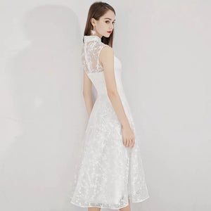 The Lorelie High Collar Lace Sleeveless Dress (Available in 2 colours) - WeddingConfetti