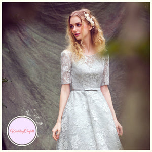 The Evette  Grey Lace Long Sleeve Dress