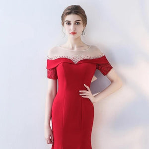 The Heriette Red Glitter Off Shoulder Mermaid Short Dress - WeddingConfetti