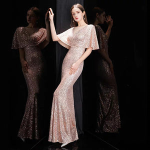 The Rayna Gold Sequined Draped Sleeves Gown (Available in 2 colours) - WeddingConfetti