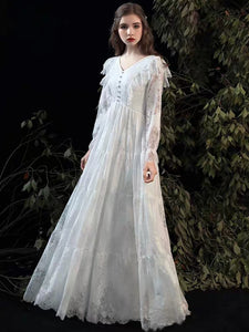 The Kastelle Long Sleeved Lace White Gown