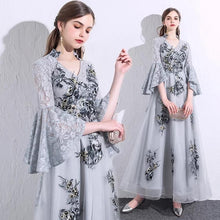Load image into Gallery viewer, The Grecia Floral Trumpet Sleeves Lace Dress(Available in 4 colours) - WeddingConfetti