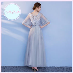 The Penelope Bridesmaids Grey Off Shoulder / Long Sleeves / Tube Dress
