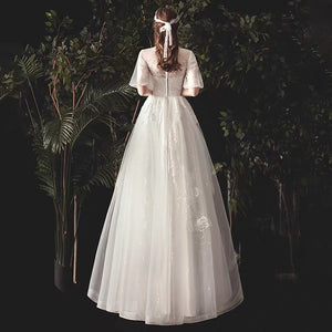 The Viva Wedding Bridal Short Illusion Sleeves Gown - WeddingConfetti