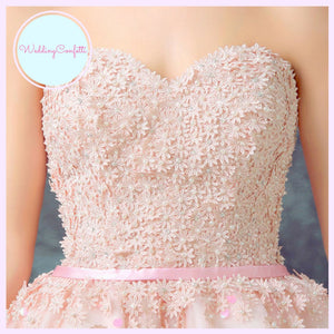 The Nicolette Wedding Bridal Pink Tube Hi Low Lace Dress