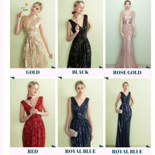 Load image into Gallery viewer, The Armella Gold / Rose Gold / Royal Blue / Red Sleeveless Evening Gown