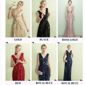 The Armella Gold / Rose Gold / Royal Blue / Red Sleeveless Evening Gown