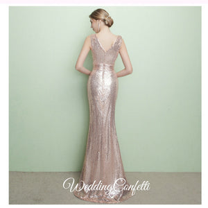 The Armella Rose Gold / Blue Sleeveless Evening Gown (Available in Blue and Gold) - WeddingConfetti