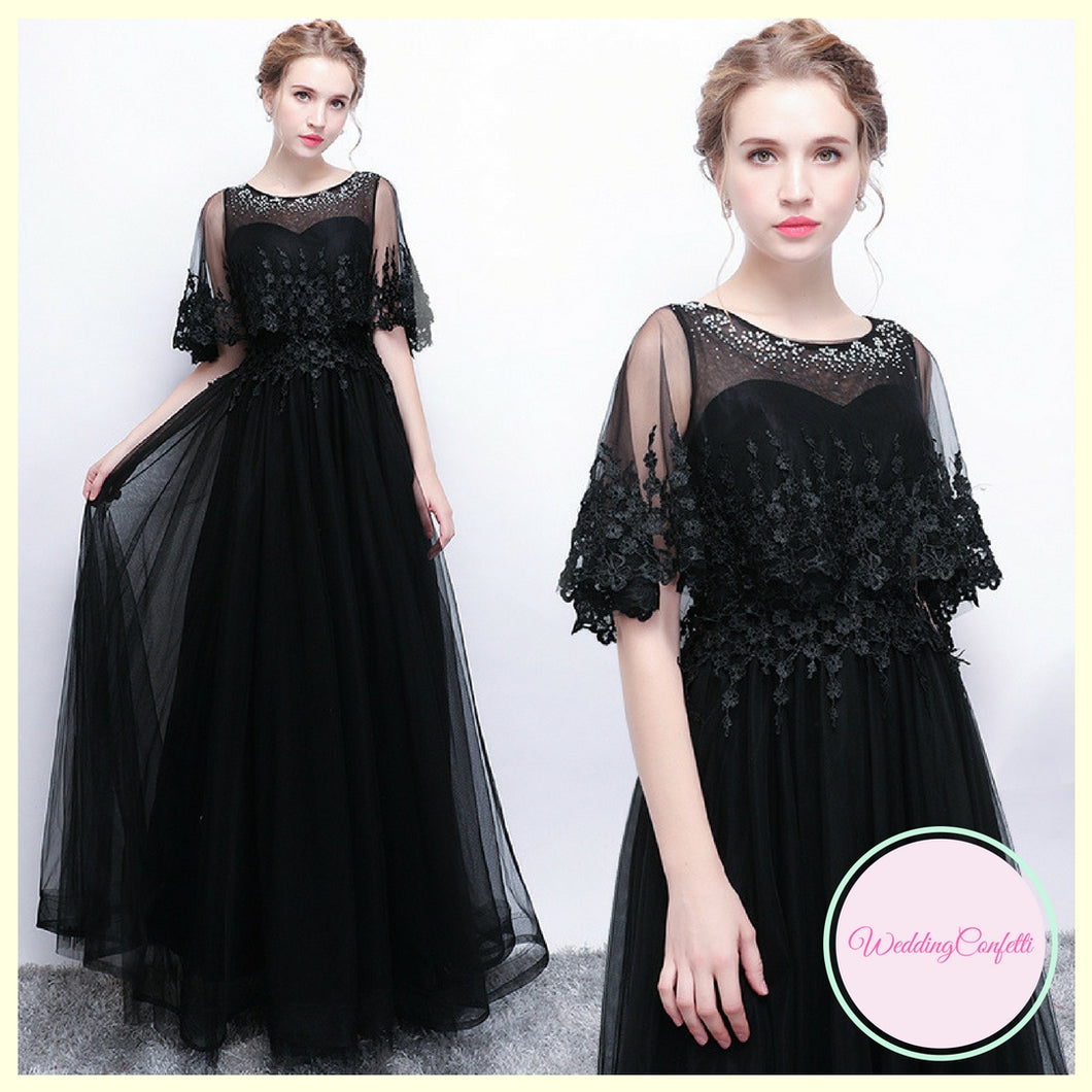 The Cecily Wedding Bridal Lace Black Long Sleeves Gown - WeddingConfetti