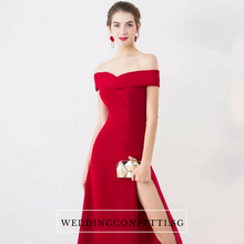 Load image into Gallery viewer, The Edita Blue/Black/Red/Pink Off Shoulder Dress - WeddingConfetti