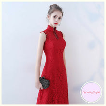 Load image into Gallery viewer, The Elanah Red Cheongsam Mandarin Collar Dress - WeddingConfetti