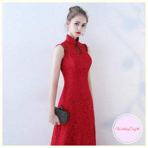 The Elanah Red Cheongsam Mandarin Collar Dress - WeddingConfetti
