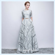 Load image into Gallery viewer, The Eliza White / Grey Long Sleeves Dress - WeddingConfetti