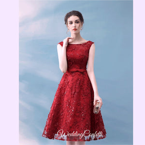 The Eugenia Red Sleeveless Embroidered Lace Dress