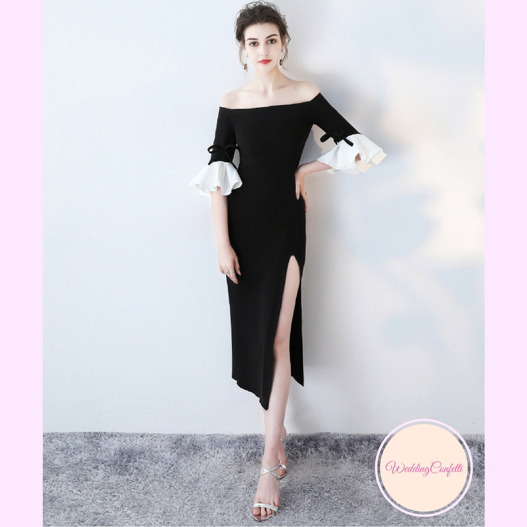 The Fayth Cocktail Black Trumpet Sleeves Dress - WeddingConfetti