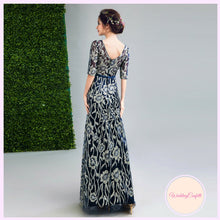 Load image into Gallery viewer, The Gamila Navy Blue & Gold Long Sleeves Gown - WeddingConfetti