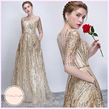 Load image into Gallery viewer, The Janicia Gold Long Sleeves Gown - WeddingConfetti