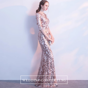 The Jaycyntha Gold Sequins Long Sleeves Gown - WeddingConfetti