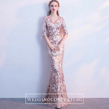 Load image into Gallery viewer, The Jaycyntha Gold Sequins Long Sleeves Gown - WeddingConfetti