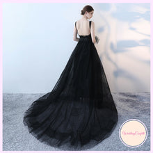 Load image into Gallery viewer, The Kadia Black Sleeveless Tulle Gown - WeddingConfetti