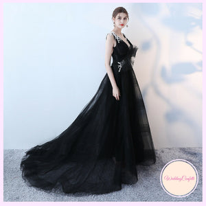 The Kadia Black Sleeveless Tulle Gown - WeddingConfetti