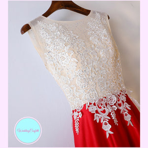 The Karel Red and White Sleeveless Dress - WeddingConfetti
