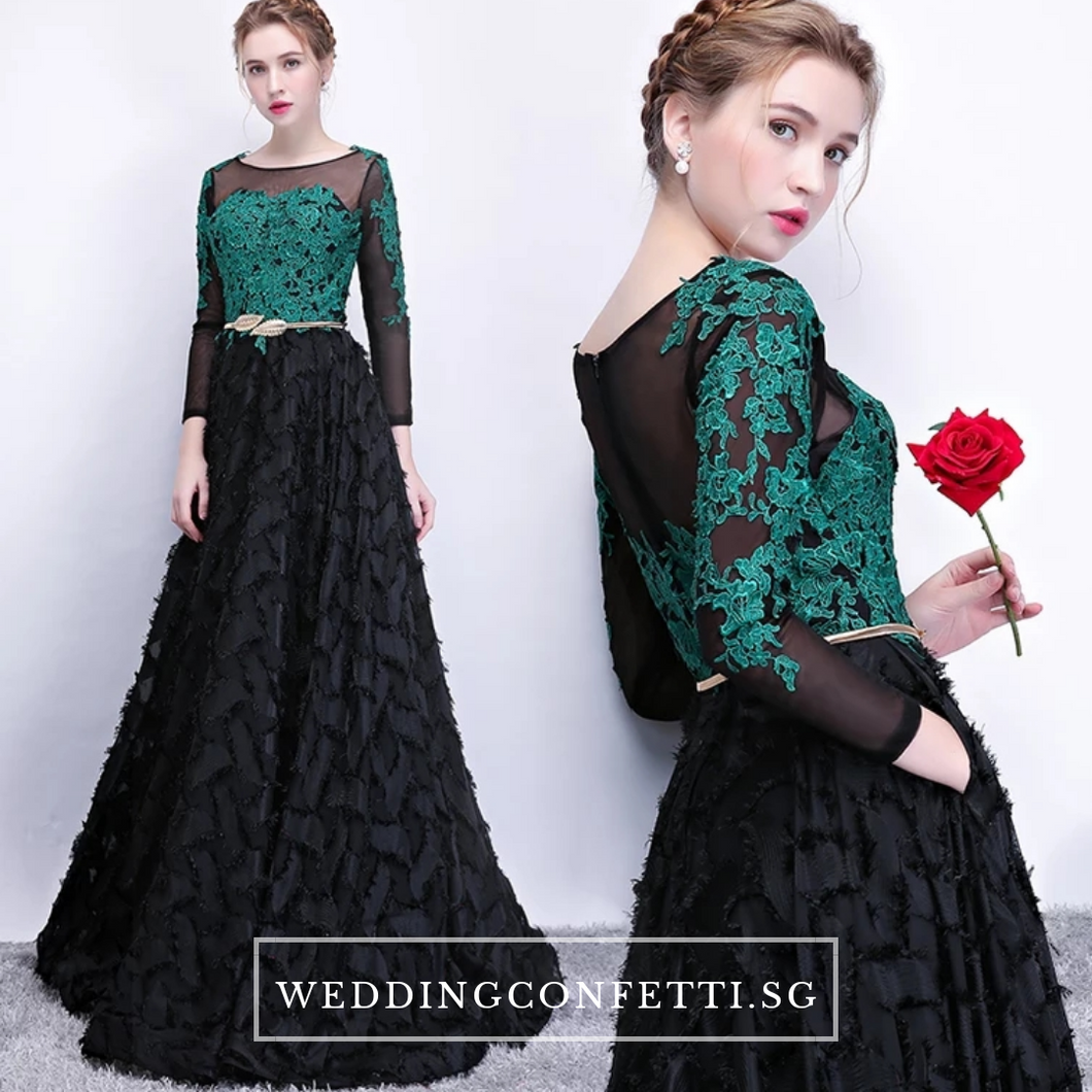 The Kistina Floral Lace Black and Green Illusion Long Sleeves Gown - WeddingConfetti