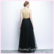 Load image into Gallery viewer, The Larissa Gold Embroidered Sleeveless Lace Gown - WeddingConfetti