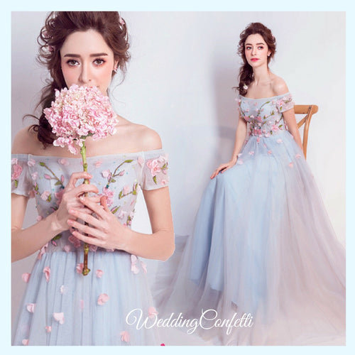 The Lilith Off Shoulder Floral Blue Tulle Gown - WeddingConfetti