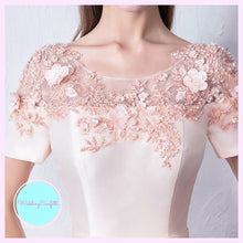 Load image into Gallery viewer, The Meridia Satin Floral Pink Short Sleeves Gown - WeddingConfetti