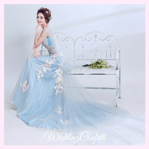 The Mikayla Allure Blue Sleeveless Gown - WeddingConfetti