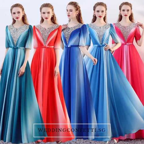 The Octavia Fuschia / Red / Green / Blue Long Sleeves Ombre Dress - WeddingConfetti