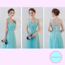 Load image into Gallery viewer, The Olyesa Tiffany Blue Sleeveless Gown - WeddingConfetti