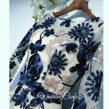 Load image into Gallery viewer, The Ophelia Blue Long Sleeve Lace Dress