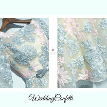 Load image into Gallery viewer, The Ophena Grey and Pink Long Sleeve Lace Dress - WeddingConfetti