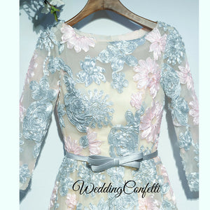 The Ophena Grey and Pink Long Sleeve Lace Dress - WeddingConfetti