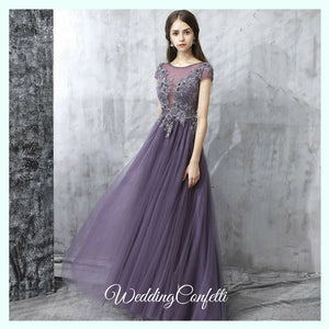 The Pedrine Purple Lace Short Sleeves Gown - WeddingConfetti