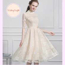 Load image into Gallery viewer, The Perina Pink / Champagne Lace Mandarin Collar Short Dress - WeddingConfetti