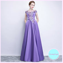 Load image into Gallery viewer, The Prunella Purple Lilac Off Shoulder Gown - WeddingConfetti