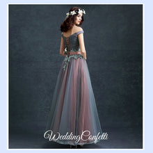 Load image into Gallery viewer, The Regalia Tulle Lace Off Shoulder Blue Gown - WeddingConfetti