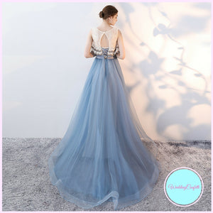 The Rezzane Champagne Blue Lace Long Dress - WeddingConfetti