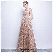Load image into Gallery viewer, The Rikka Gold Short Sleeve Gown - WeddingConfetti